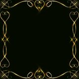 Vector golden frame with lights effects. Shining rectangle banner. on black background. Vector illustration, eps 10. Vector golden frame with hearts effects of Royalty Free Stock Image