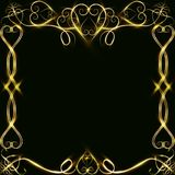 Vector golden frame with lights effects. Shining rectangle banner. on black background. Vector illustration, eps 10. Vector golden frame with hearts effects of Stock Photos
