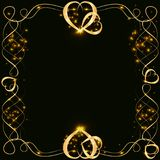Vector golden frame with lights effects. Shining rectangle banner. on black background. Vector illustration, eps 10. Vector golden frame with hearts effects of Stock Images