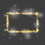 Vector golden frame with lights effects. Good for Christmas holiday. 2018.Shining rectangle banner on checkered Stock Images