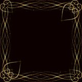 Vector golden frame with lights effects. Shining rectangle banner. on black background. Vector illustration, eps 10. Vector golden frame with hearts effects of Royalty Free Stock Photo