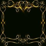 Vector golden frame with lights effects. Shining rectangle banner. on black background. Vector illustration, eps 10. Vector golden frame with hearts effects of Royalty Free Stock Photography