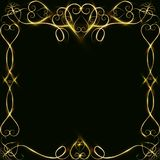 Vector golden frame with lights effects. Shining rectangle banner. on black background. Vector illustration, eps 10. Vector golden frame with hearts effects of Stock Image