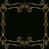 Vector golden frame with lights effects. Shining rectangle banner. on black background. Vector illustration, eps 10. Vector golden frame with hearts effects of Stock Photo