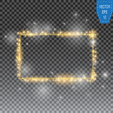 Vector golden frame with lights effects. Shining rectangle banner on checkered background. Vector illustration Royalty Free Stock Images