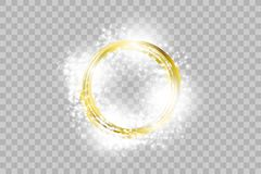 Vector golden frame with lights effects. Shining rectangle banner. royalty free illustration