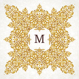 Vector golden frame in Victorian style. Ornate element for design. Place for company name. Ornament floral vignette for business card, wedding invitations Royalty Free Stock Image