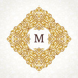 Vector golden frame in Victorian style. Ornate element for design. Place for company name and slogan. Ornament floral vignette for business card, wedding Royalty Free Stock Images