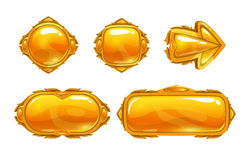 Vector golden game assets set. Gold buttons, arrow, banners, panels for GUI design. Isolated on white royalty free illustration