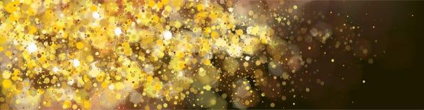 Vector golden, glitter banner. Royalty Free Stock Photo