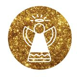 Vector golden glitter Christmas angel flat icon Royalty Free Stock Images