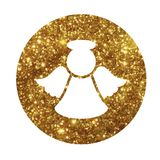 Vector golden glitter Christmas angel flat icon. The vector golden glitter Christmas angel flat icon Royalty Free Stock Photo