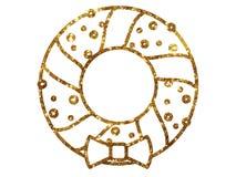 Vector Golden glitter Christmas Door Wreath decoration line icon Royalty Free Stock Image