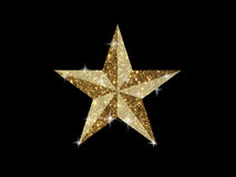 Vector golden glitter 3D review star icon on black background. The vector golden glitter 3D review star icon on black background Stock Photography