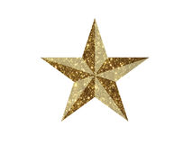Vector golden glitter 3D review star icon on white background. The vector golden glitter 3D review star icon on white background Royalty Free Stock Photos