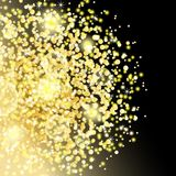 Vector golden glitter dust particles in circle shape. Glowing magic shine, star dust explosion, sparkle dots, round tinsel elements, bokeh on black background Stock Photo