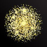Vector golden glitter dust particles in circle shape. Glowing magic shine, star dust explosion, sparkle dots, round tinsel elements, bokeh on transparent Royalty Free Stock Photography