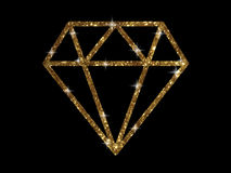 Vector golden glitter of flat diamond icon Royalty Free Stock Images