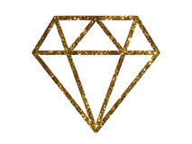 Vector golden glitter of flat diamond icon Stock Images