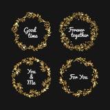 Vector golden glitter frame. Vintage gold frames illustration. Royalty Free Stock Photos