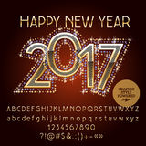 Vector golden glitter Happy New Year 2017 greeting card. Vector chic glitter Happy New Year 2017 greeting card with set of letters, symbols and numbers. File Stock Photos