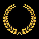 Vector golden glitter Laurel Wreath. Award for winners. Honoring champions illustration. Sign for 1st place. Trophy for. Challenge. Symbol of victory and stock illustration