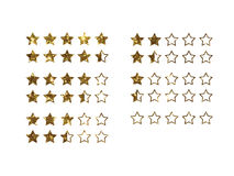 Vector golden glitter online shopping review feedback five star. The vector golden glitter of Online shopping review feedback five star rate icon set on white Stock Images