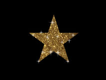 Vector golden glitter review star icon on black background Stock Photography