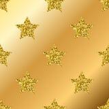 Vector golden glitter stars seamless pattern Stock Photos