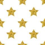 Vector golden glitter stars white seamless pattern Stock Image