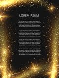 Vector golden glittering magic sparkle poster design stock illustration