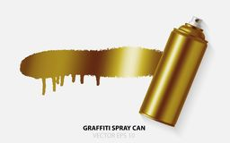 Vector Golden graffiti spray paint can with splash place for text. Stock Photo
