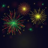 Vector golden, green, red fireworks set over night sky. Celebration multicolored sparkling vector golden, green, red fireworks set over night sky. 4th of July Royalty Free Stock Images