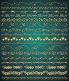 Vector Golden Hand Sketched Seamless Borders Stock Photography