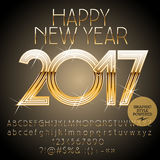 Vector golden Happy New Year 2017 greeting card. With set of letters, symbols and numbers. File contains graphic styles Stock Images