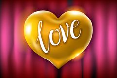 Vector golden heart celebration balloons glitters. 3d Illustration design for your greeting card, invitation and party love red cu. Rtain background Royalty Free Stock Images