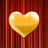 Vector golden heart celebration. Vector golden heart celebration . 3d Illustration design for your greeting card, invitation and party love red curtain Royalty Free Stock Photo