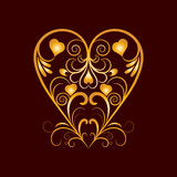 Vector Golden Heart With Flower Curl Over Brown Royalty Free Stock Image