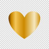 Vector golden heart icon, clip art isolated on transparent background. Gold heart sign, symbol of love.  Royalty Free Stock Photo