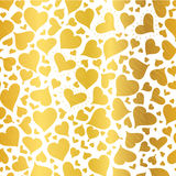 Vector Golden Hearts Seamless Pattern Design Perfect for Valentine`s Day cards, fabric, scrapbooking, wallpaper. Royalty Free Stock Photo
