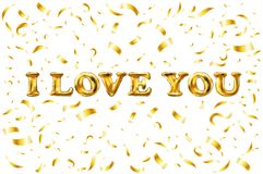 Vector Golden I love you sign. background. balloon Gold love word with confetti border and swashes on white. Stock Image