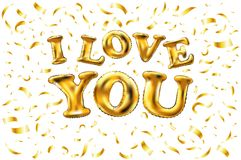 Vector Golden I love you sign. background. balloon Gold love word with confetti border and swashes on white. Art stock illustration