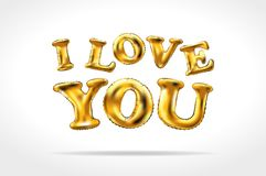 Vector Golden I love you sign. gold Inflatable balloons isolated on white background. Art Stock Photography