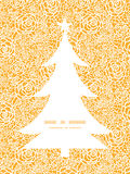 Vector golden lace roses Christmas tree silhouette Stock Images