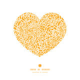 Vector golden lace roses heart silhouette pattern Royalty Free Stock Image