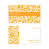 Vector golden lace roses horizontal stripe frame Stock Photography