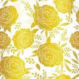 Vector golden lace roses seamless repeat pattern background. Great for wedding or bridal shower decor, invitations stock illustration