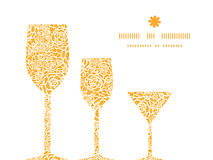 Vector golden lace roses three wine glasses Royalty Free Stock Image