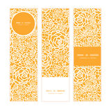 Vector golden lace roses vertical banners set Stock Photos