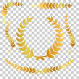 Golden laurel, ribbon, first, second and third winner, at transparent effect background. Vector golden laurel, ribbon, first, second and third winner, at Royalty Free Stock Image